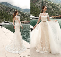Wholesale Removable Lace Wedding Dress - 2017 Removable Mermaid Wedding Dresses with Long Sleeve Bridal Gowns Summer Beach Garden Spring Open back Lace up for Black Skin Girls