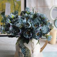 ingrosso rosa peonies matrimonio-Seta artificiale Mini Peony Flower 1 Bouquet 5 Head Foglia finta Home Party Garden Wedding Decor Blu / Avorio / Rosa / Hotpink