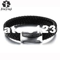 ingrosso i braccialetti della pelle di serpente-dhgate Fashion New Brand Braid Bracciale in pelle Uomo Bracciale in acciaio inossidabile pelle di serpente Chiusura magnetica Migliori regali per gli amici