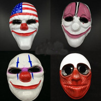 Wholesale plastic clowns for sale - Group buy Halloween Horror Mask Payday Mask Newest Topic Game Series Plastic Old Head Clown Flag Red Head Masquerade Supplies
