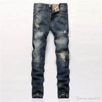 Hip Hop Mens Designer Pants Blue Destroyed Mens Slim Denim Straight Biker Skinny Jeans Men Ripped Jeans Размер 28-38 J171018