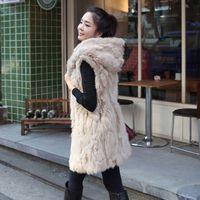 Wholesale Long Faux Fur Gilet - 2018 Style Long Faux Fur Vest Black Apricot Hooded Long Gilet Winter Warm Sleeveless Jacket Overcoat Drop Shipping CJD0824
