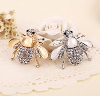 Wholesale Rhinestone Bee Brooch - Exquisite Fashion Women Lady Rhinestone Animal Brooch Jewelry Lovely Alloy Bee Brooches Pins Jewelry Gift