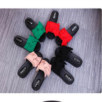 Wholesale Strap Bow Wedges - Summer Wedge Flower Bow Tie Sandals Fashion Beach Shoes 4 Colors Women Slippers Indoor Sandals Girls Fashion Scuffs With High Quality