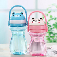 Plastic CIQ Eco-Friendly Children Kids Baby Cartoon Lovely Animal Eco-friendly With lid Hiking Straw Type Plastic Water Drinking bottle ZA3024