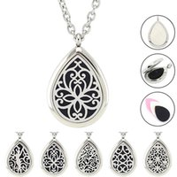 Wholesale Magnetic Oil - Free with Chain and Pads! Hot Sale Silver Teardrop Perfume Locket Jewelry Magnetic 316L Stainless Steel Essential Oil Diffuser Necklace