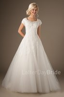 Wholesale Short Sleeved Bridal Dress - 2017 New Modest Wedding Dresses Sleeved Beaded Neckline Buttons Back Lace Appliques A-line Tulle Country Western Bridal Gowns Custom Made