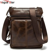 Wholesale genuine leather handmade coin purse - Wholesale-Vogue Star New genuine Leather Men Bag Small Coin Purse Shoulder Bag Vintage Design Handmade Messenger Bag Handbag for Men LS468