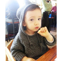 Wholesale Childrens Sweater Wholesale - 2017 Boys Girls Childrens Pullover Bat Long Sleeve Hooded Sweaters Clothing Autumn Winter Cotton Kids Poncho Outwear Boutique Clothes