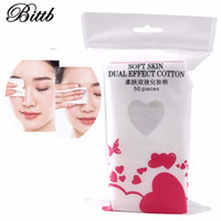 Wholesale makeup cosmetic cotton pads - Bittb 50pcs pack Natural Cotton Facial Makeup Cotton Wipes Pads Cosmetic Nail Polish Remover Face Skin Cleaning Cotton Tools