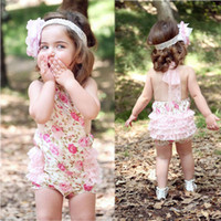 Wholesale Lace Ruffle Rompers For Girls - Baby Girls Floral Print Lace Ruffles Rompers Summer Halter Cute Cotton Clothing Princess Western Clothing for 1-4 years