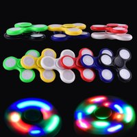Wholesale Switch Off 12 - Fidget Spinner LED Fidget Tri Spinners Toys 3 Modes Luminous Light Hand Spinner with Switch ON OFF by DHL OTH384