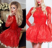Wholesale Sexy Club Dresses Sparkly - Vestido de Festa Sexy Red Backless Short Cocktail Dresses Long Sleeves Full Lace Vintage Club Wear Dresses Sparkly Prom Dresses 2018