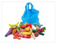 juguete de cocina gratis al por mayor-Niños preescolares gratis cocina de madera de alimentos frutas corte de verduras niños casa rompecabezas educativos juguetes de aprendizaje todos 21 unids / lote