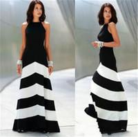 gerisiz çizgili maxi elbise toptan satış-Backless Çizgili Maxi Elbise Backless Elbise Yaz Elbiseler Resmi Elbiseler Akşam Seksi Kadınlar Stripes Uzun Maxi Akşam Elbise
