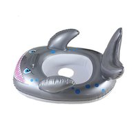 Wholesale Inflatable Toddler Swimming Pools - Swim Seat Shark Shaped Kids Inflatable Baby Toddler Swimming Swim Seat Float Pool Fish Ring Child Toddler Bath Girls Summer Toys 2110100