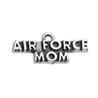 Wholesale Air Force Wife - New Arrival Zinc Alloy Antique Silver Plated Air Force MOM and WIFE Charms For DIY Bracelet and Necklace Jewelry