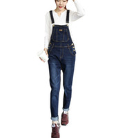Wholesale Trousers Suspenders Women - Wholesale-HOT New Fashion women's overalls trousers,Plus sizes women's casual jeans denim suspenders pants jumpsuit free shipping