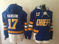 sudadera de películas al por mayor-Mens Brothers Charlestown Slap Shot Movie Jerseys 17 Steve Hanson Hoodies Jerseys Sudaderas de alta calidad envío gratuito