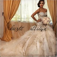 Wholesale fish mermaid wedding gown resale online - Amazing Sparkly Beaded Mermaid Royal Princess Wedding Dresses Azzaria Haute Sweetheart Tiered Skirt Puffy Fish Tail Bridal Gowns