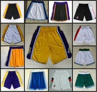 Running blazer short men - Lakers Basketball Shorts Blazers Sport Training Shorts Celtics Team shorts Loose Polyester Classic Pockets For men With Logo Basketball Pant