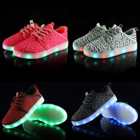 Wholesale cool shoes for girls - Kids Girl Boys Cool Led Shoes Light Up Flashing Sneakers with USB Charge Unisex Fluorescent Couple Running Sport Casual Shoes for Childrens
