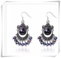 6mm perlas negras al por mayor-nuevo precio al por mayor Daimi 5-6mm pendientes de perlas negras pendientes de ágata de agua dulce