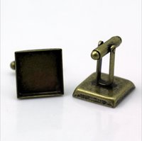 Wholesale Cufflink Blanks Square - 50pcs with 25mm Wholesale Silver Plated French Cufflink Cuff links Blank Square Cameo Bezel Cabochon Setting Disc Tray