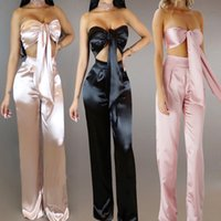 2017 Mulheres Sexy 2 Pieces Sets Ladies Crop Tops + Long Pants Suits Fashion Silk Trousers High Quality Bandage Loose Clothing