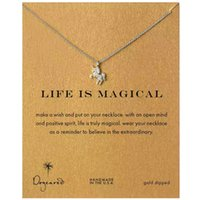 Wholesale Cards Life - With Card Unicorn Pegasus Life is Magical Pendant Dogeared Necklace Gold Silver Color Short Women Clavicle chain jewelry