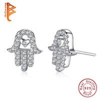 BELAWANG 925 стерлингового серебра Heart Shape Stud Серьги Clear CZ Forever Love Palm Hamsa Hand Earring для женщин Fashion Jewelry Gift