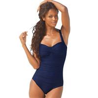 einteiliges schwarzes plus größenbadebekleidung großhandel-Plus Size Badeanzug Frauen Bademode Solide Monokini Maillot De Bain Femme Body Weiblichen Badeanzug Schwarz Blau