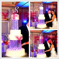 ingrosso stand di torta acrilica-Trasparente 2Tier Crystal Chandelier Cake Stand rotondo o quadrato- 8