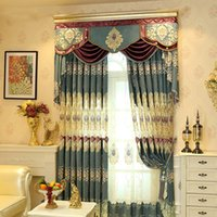 Wholesale Living Room Valance Curtains - Hot Sale Curtain Western Living Room Bedroom Curtains Chenille Jacquard Weave Blackout Window Valance Curtains Wholesale Per Meter #Valance