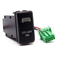 kit de luz de fio venda por atacado-Interruptor de impulso LED azul com kit de fio de conector Interruptor de interruptor de LED homem de laser interruptor de luz on-off para Toyota