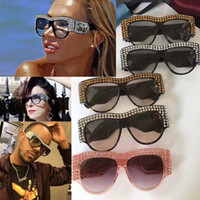 Wholesale New Design Waterproof Case - 0144 new fashion women sunglasses 0144S Eyewear frame diamond crystal design round big frame hot lady design UV400 lens with original case
