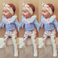 Wholesale Boys 3piece - Wholesale- 2016 autumn baby girl clothes 3pcs Headband+T-shirt+Floral Pants Flower Band T-shirt pants baby clothing sets baby 3piece suite