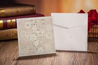 Wholesale Lace Pocket Wedding Invitations - Wholesale-White Lace Invitation Pockets; Pink Wedding Invitation With White Lace Invitation Pockets - Set of 50