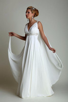 Wholesale Empire Greek Dress - Greek Style Wedding Dresses with Watteau Train 2017 High Waist Long Chiffon Grecian Beach Maternity Wedding Gowns for Pregnant Women