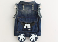Wholesale Baby Girls Denim Vest - Lowest Price Hot Sale pretty kids Tank Tops baby girl bow Lace embroidered denim vest waistcoat outwear blue denim Waistcoat 5pc lot