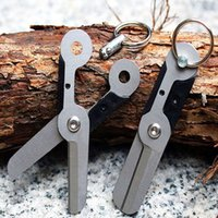 Wholesale Scissor Key Chains Wholesale - 60pcs lot New Wholesale Mini EDC Gear Outdoor Stainless Steel Utility Tool Scissors Latch With Spring Key Chain Survive Pocket Tool