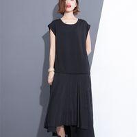 Wholesale Drop Hem - 2017 Spring Summer Fashion New Solid Color Sleeveless Loose Mesh Patchwork Irregular hem Dress Woman T62300