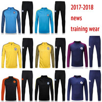 Wholesale Free City Jackets - free shipping 17 18 man Soccer jerseys Men's Jackets+Pants Sport Clothes Jogging Football Training Suit Fashion Outerwear Tracksuit city