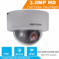 Wholesale Ip Outdoor Zoom - Free Shipping DHL Hikvision DS-2DE3304W-DE White IP Network Camera 3MP 4x Zoom 2.8~12mm Support POE IP67 PTZ Dome Camera English Version