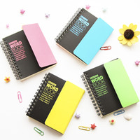 Wholesale word notebooks - Wholesale- New Creative Fluorescent colors School Student English words language learning memory Manual Notebook with shielding plate 706