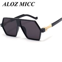Wholesale unique drives - ALOZ MICC Brand Sunglasses For Men Drive Big Frame Sunglasses Unique Personality Alloy Leg High Quality Vintage Glasses UV400 A118