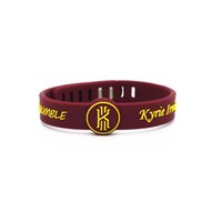 Wholesale White Rubber Wristband - 2PC Kyrie Irving rubber bracelets Debossed'AND HUMBLE' silicone wristband Red color soft silicone bangle for men basketball