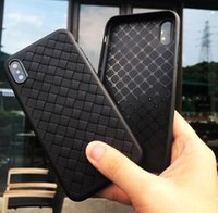 Wholesale Stripped Iphone Case Tpu - For iPhone X Woven Leather Case Strips Weave Natural New Soft TPU Shockproof All-inclusive Slim Protective Cover For iPhone 8 7 Plus 6 6S