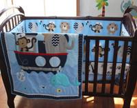 Wholesale Navigation Sea - Baby Bedding Set Cotton 3D Embroidery Monkey Elephant Navigation Blue Sea Whale Quilt Bumper Mattress Cover 7 Pieces