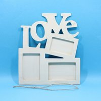 Wholesale Love Picture Frames - New Lovely Hollow Love Wooden Family Photo Picture Frame Rahmen White Art Base Home Decor
